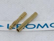 2mm Stecker/Buchsen Set vergoldet mit Schrumpfschlauch (1 Paar)